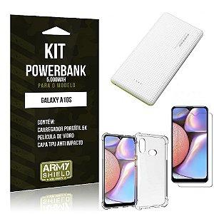 Kit Carregador Portátil 5K  Galaxy A10S + Capa Anti Impacto +Película Vidro - Armyshield