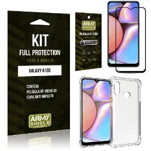 Kit Full Protection Galaxy A10S Película de Vidro 3D + Capa Anti Impacto - Armyshield