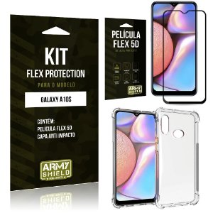 Kit Flex Protection Galaxy A10S Capa Anti Impacto + Película Flex 5D - Armyshield