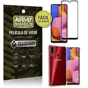 Kit Película 3D Fácil Aplicação Galaxy A20S Película 3D + Capa Anti Impacto - Armyshield