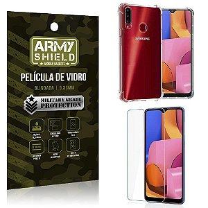Kit Anti Impacto Galaxy A20S Capinha Anti Impacto + Película de Vidro - Armyshield