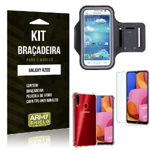 Kit Braçadeira Galaxy A20S Braçadeira + Capinha Anti Impacto + Película de Vidro - Armyshield
