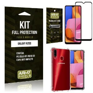 Kit Full Protection Galaxy A20S Película de Vidro 3D + Capa Anti Impacto - Armyshield
