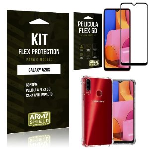 Kit Flex Protection Galaxy A20S Capa Anti Impacto + Película Flex 5D - Armyshield