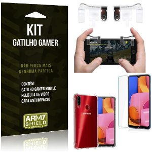 Kit Gatilho Gamer Galaxy A20S Gatilho + Capa Anti Impacto + Película Vidro - Armyshield