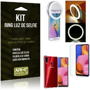 Kit Flash Ring Galaxy A20S Flash Ring + Capa Anti Impacto + Película de Vidro - Armyshield