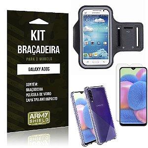 Kit Braçadeira Galaxy A30S Braçadeira + Capinha Anti Impacto + Película de Vidro - Armyshield
