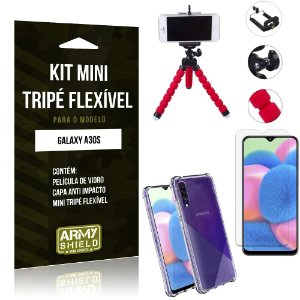 Kit Mini Tripé Flexível Galaxy A30S Tripé + Capinha Anti Impacto + Película de Vidro - Armyshield