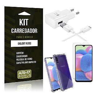 Kit Carregador Tipo C Galaxy A30S + Capinha Anti Impacto + Película de Vidro - Armyshield