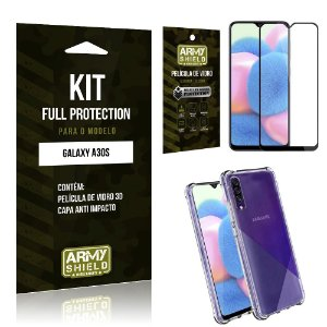 Kit Full Protection Galaxy A30S Película de Vidro 3D + Capa Anti Impacto - Armyshield