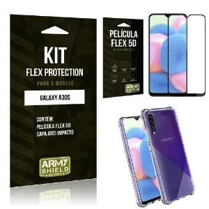 Kit Flex Protection Galaxy A30S Capa Anti Impacto + Película Flex 5D - Armyshield