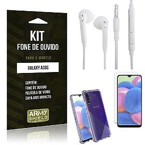 Kit Fone de Ouvido Galaxy A30S Fone + Capa Anti Impacto + Película Vidro - Armyshield