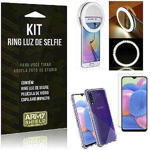 Kit Flash Ring Galaxy A30S Flash Ring + Capa Anti Impacto + Película de Vidro - Armyshield