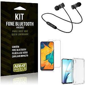 Kit Fone Bluetooth Hrebos Galaxy A10 + Capa Anti + Película Vidro - Armyshield