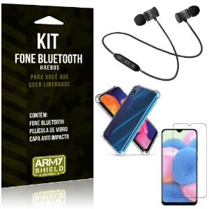 Kit Fone Bluetooth Hrebos Galaxy A10s + Capa Anti + Película Vidro - Armyshield