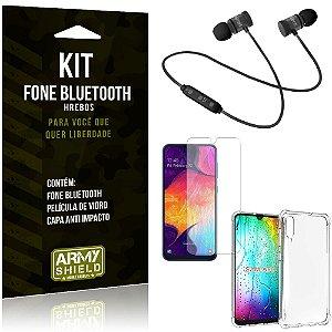 Kit Fone Bluetooth Hrebos Galaxy A50 + Capa Anti + Película Vidro - Armyshield