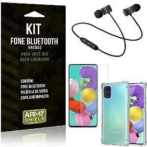 Kit Fone Bluetooth Hrebos Galaxy A51 + Capa Anti + Película Vidro - Armyshield