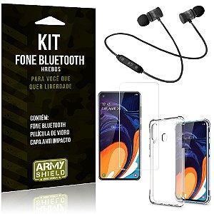 Kit Fone Bluetooth Hrebos Galaxy A60 + Capa Anti + Película Vidro - Armyshield