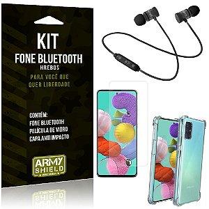 Kit Fone Bluetooth Hrebos Galaxy A71 + Capa Anti + Película Vidro - Armyshield