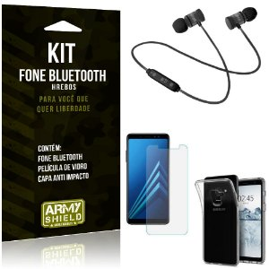 Kit Fone Bluetooth Hrebos Galaxy A8 Plus + Capa Anti + Película Vidro - Armyshield