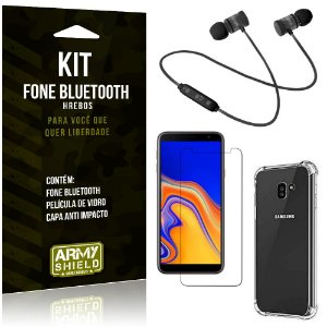 Kit Fone Bluetooth Hrebos Galaxy J4 Plus (2018) + Capa Anti + Película Vidro - Armyshield