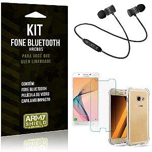 Kit Fone Bluetooth Hrebos Galaxy J5 Prime + Capa Anti + Película Vidro - Armyshield