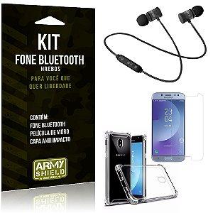 Kit Fone Bluetooth Hrebos Galaxy J7 Pro (2017) + Capa Anti + Película Vidro - Armyshield