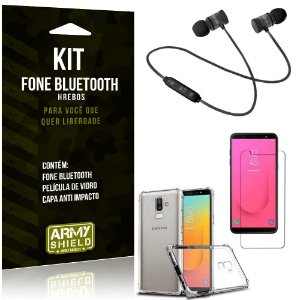 Kit Fone Bluetooth Hrebos Galaxy J8 (2018) + Capa Anti + Película Vidro - Armyshield