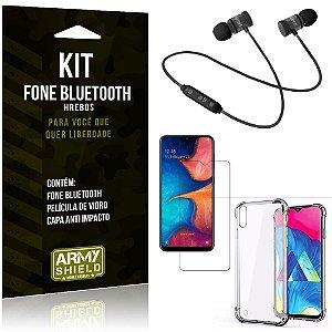 Kit Fone Bluetooth Hrebos Galaxy M10 + Capa Anti + Película Vidro - Armyshield