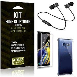 Kit Fone Bluetooth Hrebos Galaxy Note 9 + Capa Anti + Película Vidro - Armyshield
