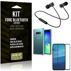 Kit Fone Bluetooth Hrebos Galaxy S10e + Capa Anti + Película Vidro - Armyshield
