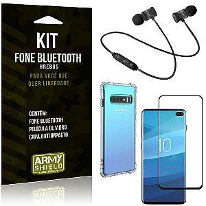 Kit Fone Bluetooth Hrebos Galaxy S10 Plus + Capa Anti + Película Vidro - Armyshield