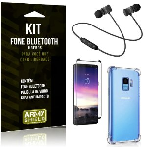Kit Fone Bluetooth Hrebos Galaxy S9 + Capa Anti + Película Vidro - Armyshield