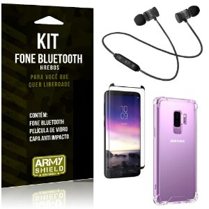 Kit Fone Bluetooth Hrebos Galaxy S9 Plus + Capa Anti + Película Vidro - Armyshield