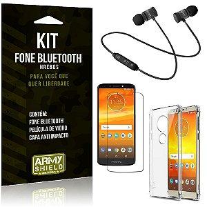 Kit Fone Bluetooth Hrebos Moto E5 Plus + Capa Anti + Película Vidro - Armyshield