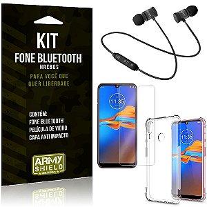 Kit Fone Bluetooth Hrebos Moto E6 Plus + Capa Anti + Película Vidro - Armyshield