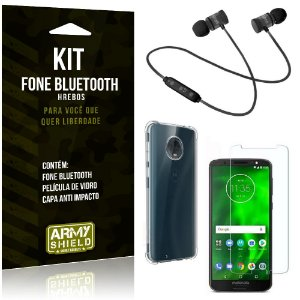 Kit Fone Bluetooth Hrebos Moto G6 + Capa Anti + Película Vidro - Armyshield