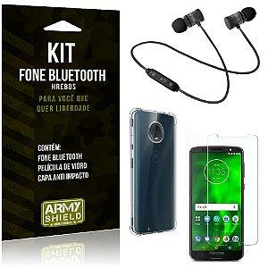 Kit Fone Bluetooth Hrebos Moto G6 Plus + Capa Anti + Película Vidro - Armyshield