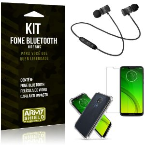 Kit Fone Bluetooth Hrebos Moto G7 Power + Capa Anti + Película Vidro - Armyshield