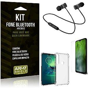 Kit Fone Bluetooth Hrebos Moto G8 Play + Capa Anti + Película Vidro - Armyshield