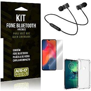 Kit Fone Bluetooth Hrebos Moto G8 Plus + Capa Anti + Película Vidro - Armyshield