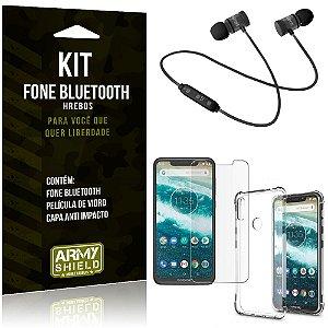 Kit Fone Bluetooth Hrebos Moto One + Capa Anti + Película Vidro - Armyshield