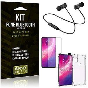 Kit Fone Bluetooth Hrebos Moto One Hyper + Capa Anti + Película Vidro - Armyshield