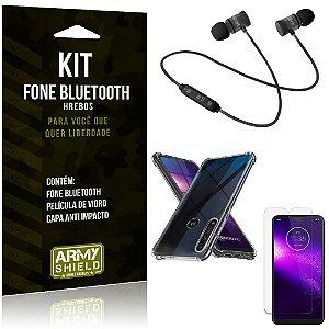 Kit Fone Bluetooth Hrebos Moto One Macro + Capa Anti + Película Vidro - Armyshield
