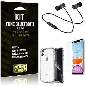 Kit Fone Bluetooth Hrebos iPhone 11 6.1 + Capa Anti + Película Vidro - Armyshield