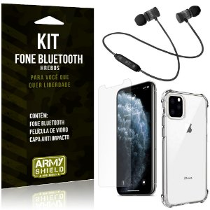 Kit Fone Bluetooth Hrebos iPhone 11 Pro 5.8 + Capa Anti + Película Vidro - Armyshield