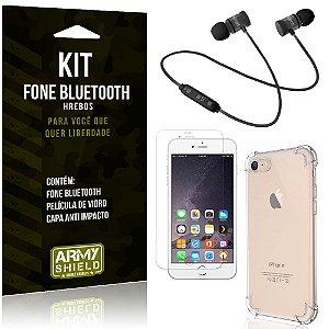 Kit Fone Bluetooth Hrebos iPhone 6 Plus - 6S Plus + Capa Anti + Película Vidro - Armyshield