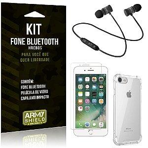 Kit Fone Bluetooth Hrebos iPhone 8 + Capa Anti + Película Vidro - Armyshield