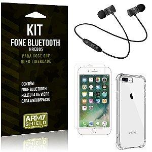 Kit Fone Bluetooth Hrebos iPhone 8 Plus + Capa Anti + Película Vidro - Armyshield