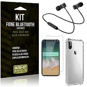 Kit Fone Bluetooth Hrebos iPhone X + Capa Anti + Película Vidro - Armyshield